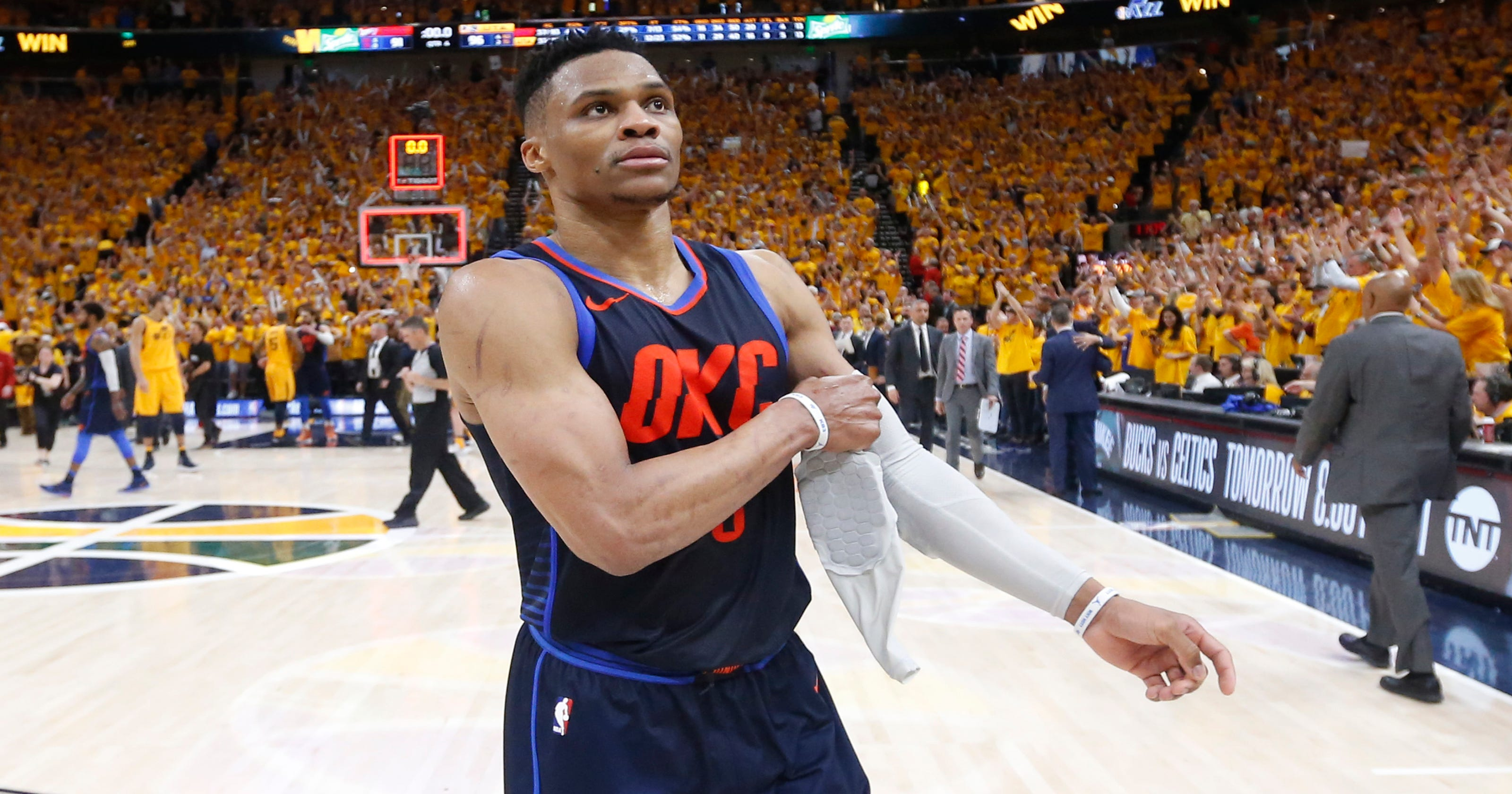 f7cab4b236d Russell Westbrook swipes at Utah Jazz fan in heated exchange