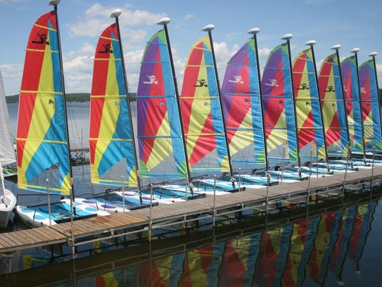 "Guests can participate in a ""Hobie Regatta"" or sign"