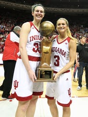 Indiana Hoosiers forward Amanda Cahill (33) and Indiana Hoosiers guard Tyra Buss (3) pose with the trophy after the game against Virginia Tech at Simon Skjodt Assembly Hall in Bloomington, Ind., on Saturday, March 31, 2018.