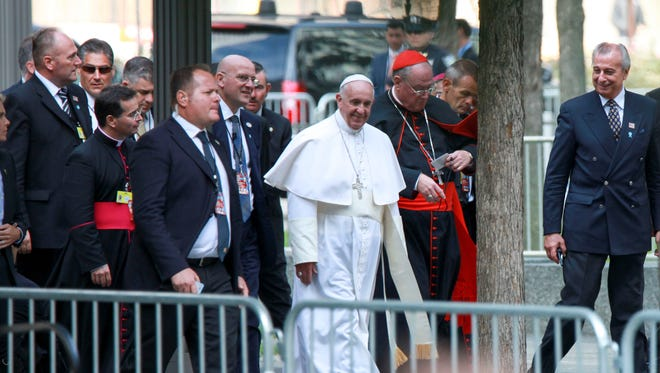 Pope Francis arrives at the 9/11 Memorial in New York City.