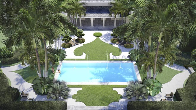 A rendering looking toward the main house shows Nievera Williams Design's reworking of the pool area at the West Palm Beach home that will host the 2020 Kips Bay Decorator Show House Palm Beach, which opens Feb. 1 for tours.