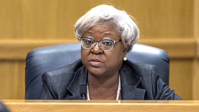 Palm Beach County Administrator Verdenia Baker during a meeting of the commission January 23, 2108.
