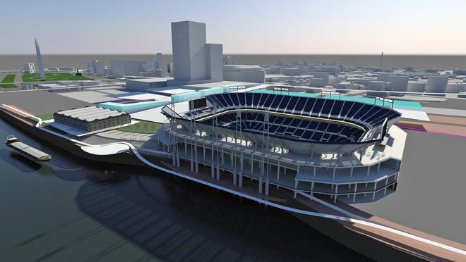 An artist's rendering of the newly proposed stadium in St. Louis, looking southwest.