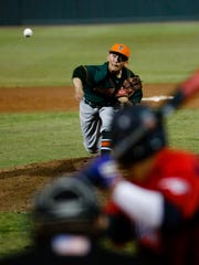 Porterville's Andruw Guiterrez was on the mound during 34th annual PRO-PT Tulare/Visalia Baseball Invitational upper-division championship game. Porterville defeated Tulare Western 5-4 Wednesday night at Visalia Rawhide's Recreation Park.