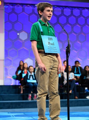 Paul Hamrick from Monterey, Calif. spelled the word occiput (back part of the skull) incorrectly and is knocked out of the final rounds of the 2017 Scripps National Spelling Bee at the Gaylord National Resort and Convention Center. Mandatory Credit: Jack Gruber-USA TODAY NETWORK