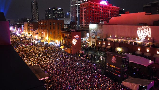 View of crowd during Bash of Broadway on NYE from ACME Feed & Seed in downtown Nashville on Thursday Dec. 31, 2015.