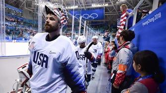 United States goaltender Ryan Zapolski (30) reacts after playing Czech Republic.