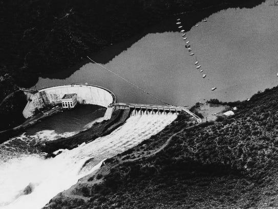 The flood waters thundering through Stewart Mountain