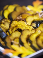 Roasted acorn squash with balsamic, honey and shallot.