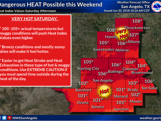 A heat map issued by the National Weather Service in San Angelo on June 20, 2018 shows extremely hot temperatures in the coming weekend.