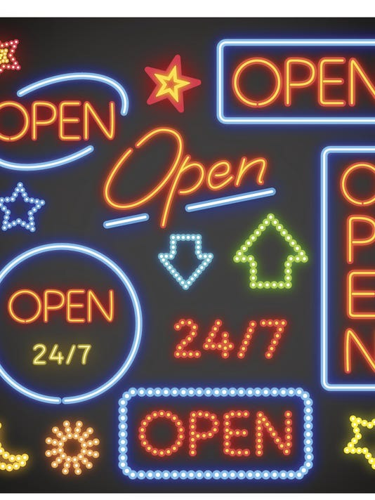 Several options for neon signs that say open