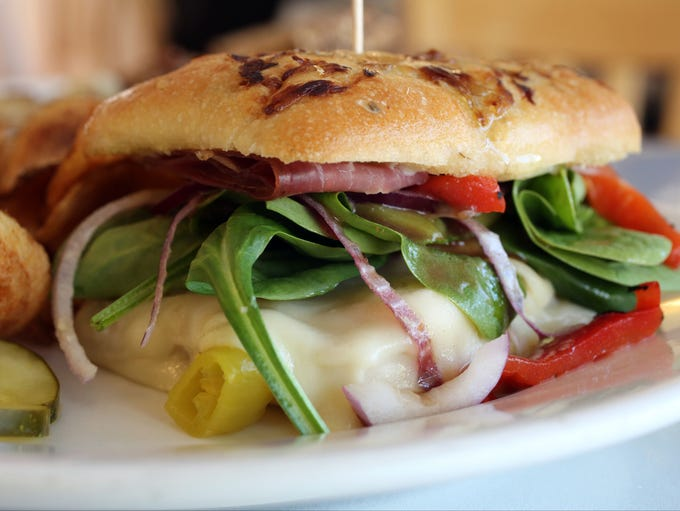 The Warm Focaccia Sandwich at Hudson Hil's Cafe and