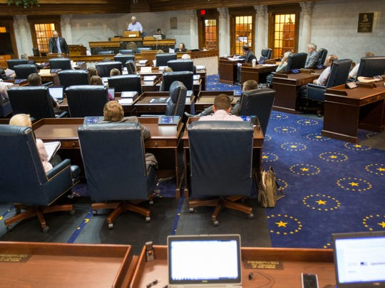 A summer session to discuss the issue of various diseases, including Chronic Wasting Disease on captive deer in Indiana, occurs Aug. 19, 2014, at the Indiana Statehouse, Indianapolis.