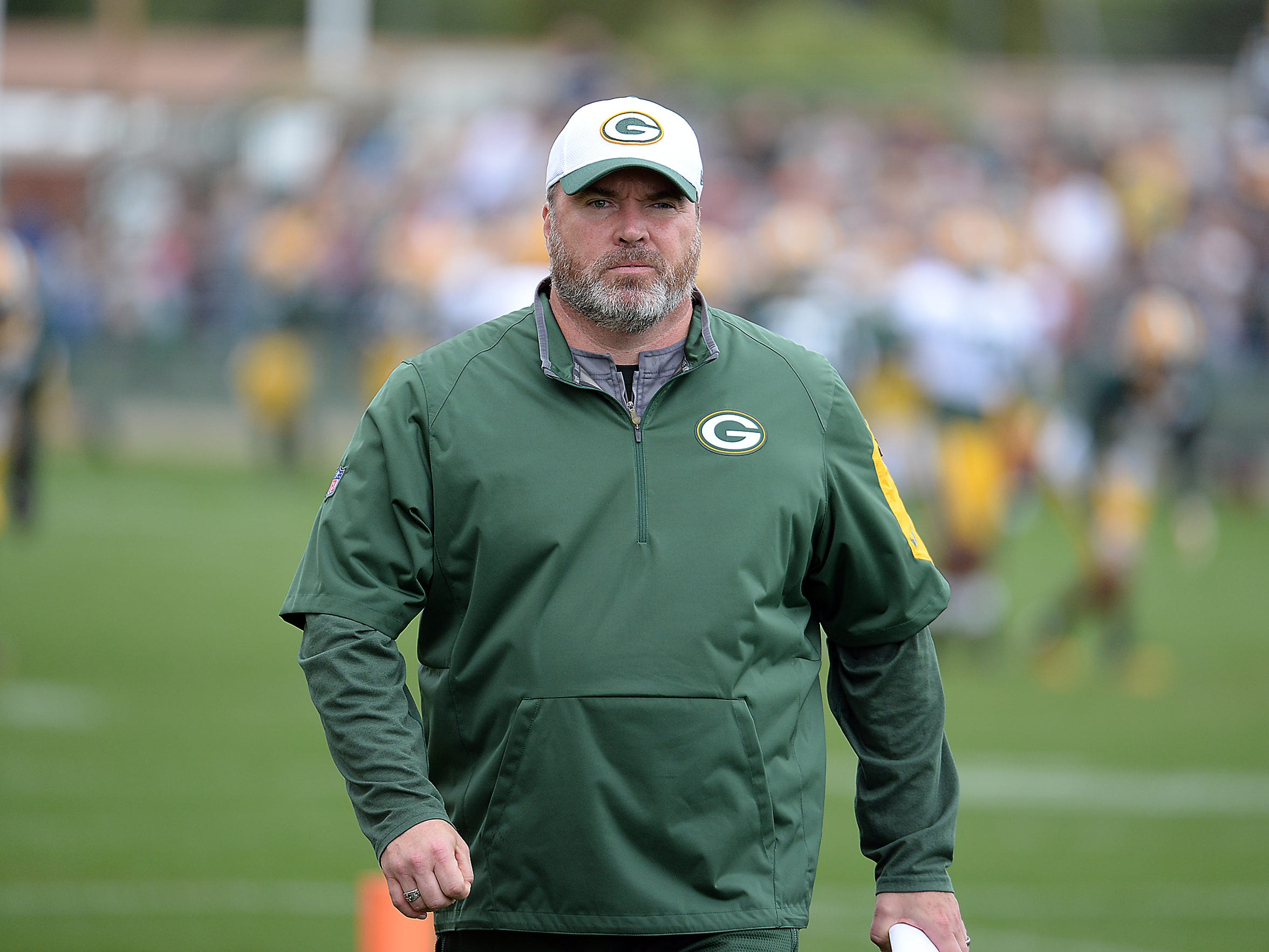 Head coach Mike McCarthy during Green Bay Packers Training Camp at Ray Nitschke Field August 26, 2015.