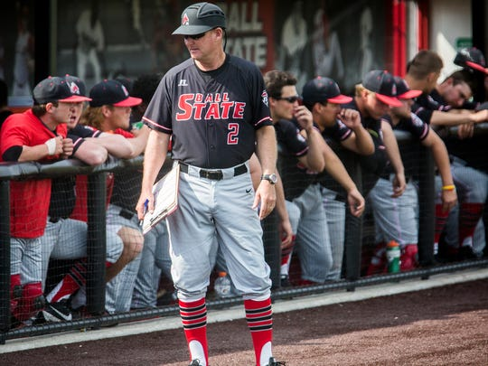 Ball State baseball coach Rich Maloney during Ball State's game against Bowling Green April 15, 2017.