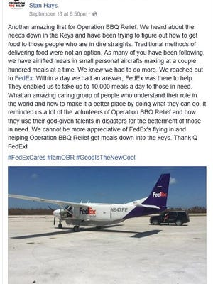 FedEx linked up with Operation BBQ Relief to deliver barbecue to hurricane-stricken South Florida.