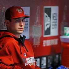 Diamondbacks first baseman Paul Goldschmidt watches from the dugout on Tuesday, Aug. 5,  2014 in Phoenix.