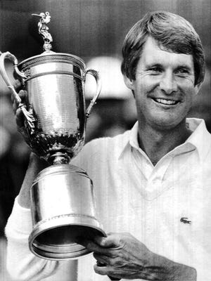 Andy North celebrates after winning the 1985 U.S. Open at Oakland Hills in Birmingham, Mich.