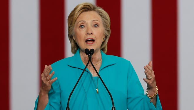 Democratic presidential candidate Hillary Clinton speaks at a campaign event in Reno, Nev.