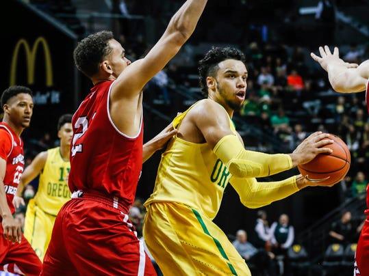 Oregon forward Dillon Brooks (24), drives on Western Oregon during an NCAA college basketball game Wednesday, Nov. 30, 2016, in Eugene, Ore. Oregon won 93-54. (AP Photo/Thomas Boyd)