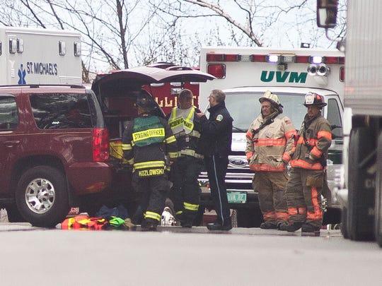 Emergency crews respond to a hazardous materials incident