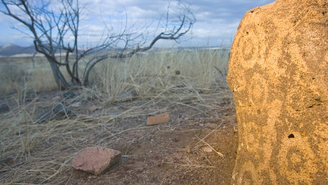 A petroglyph at the Pueblo la Plata area off of Bloody Basin Road in the Agua Fria National Monument north of Black Canyon City.