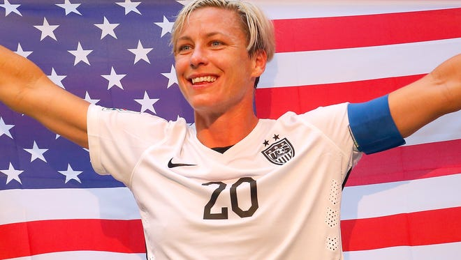 Abby Wambach celebrates after the United States won the FIFA Women's World Cup on July 5, 2015.