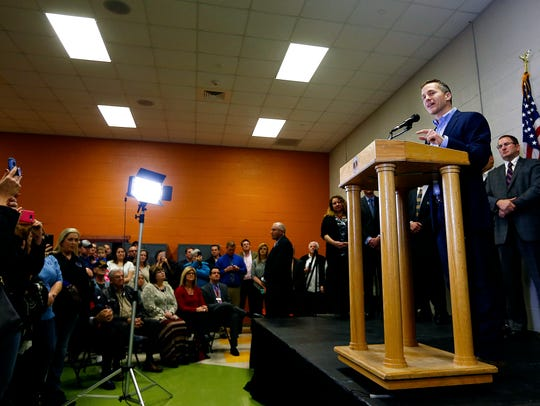 Missouri Gov. Eric Greitens delivers an outline of