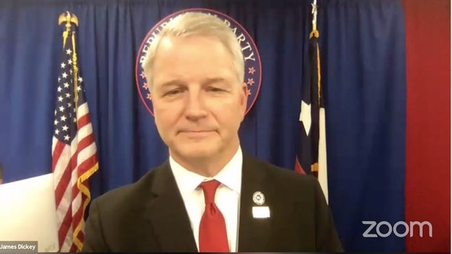 Texas Republican Party Chairman James Dickey closes a four-hour meeting of the State Republican Executive Committee shortly before 1 a.m. Friday.