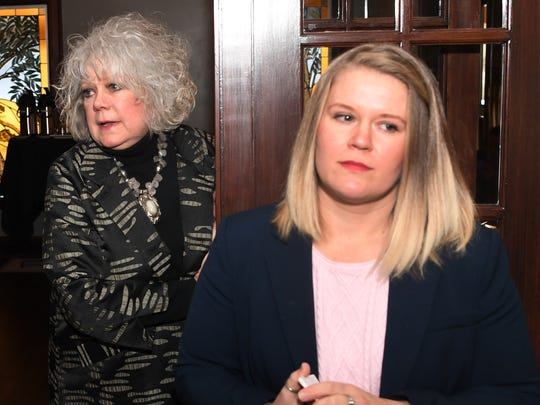 Janel Ponder Smith left, and Catie Robinson waits to answer questions after Smith announced that she would be running for Chair of Wichita County Democratic Party and Robinson would be seeking Wichita County Commissioner-Precinct 4.
