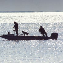 Anglers float across Mille Lacs Lake on a previous opening day of walleye season.