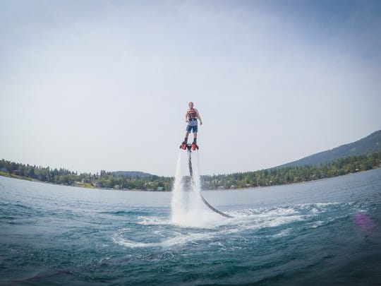Flyboarding on Whitefish Lake.