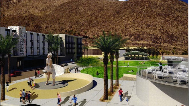 An architect's rendering of a proposed new downtown park and event space in Palm Springs.