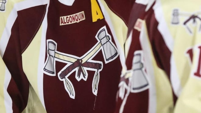The Algonquin Regional High Tomahawks logo on a hockey jersey. Recent petitions have called for the school to change its mascot as well as the school's name.