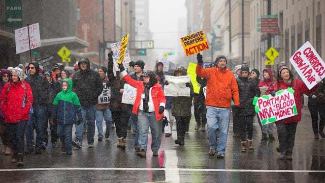 Thousands took part in the March For Our Lives rally in downtown Cincinnati Saturday afternoon, despite the snowy weather. Students organized the event, which included several speakers, including Ethel Guttenberg, grandmother of Jaime Guttenberg, 14, who was one of the victims at the Marjory Stoneman Douglas High School in Parkland, Florida.