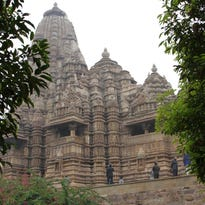 A view of one of the temples built in the 10-11th century at the UNESCO World Heritage site, in Khajuraho, Madhya Pradesh, India.