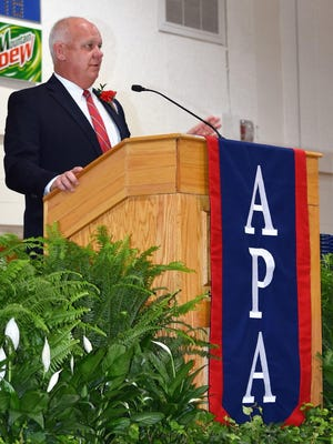 Dr. Bert Bright speaks at Parrott Academy's 2019 commencement. Bright presided over six graduations before retiring as APA's Headmaster on June 30th.