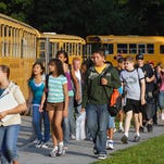 Students arrive at Wappingers Junior High School in this Journal file photo.