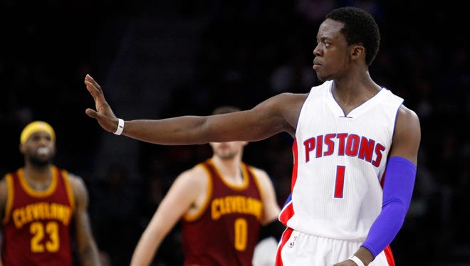 Detroit Pistons guard Reggie Jackson plays against the Cleveland Cavaliers at the Palace of Auburn Hills.