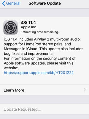 Apple's iOS 11.4 software update adds support for multi-room audio, stereo pairing and Messages in iCloud.