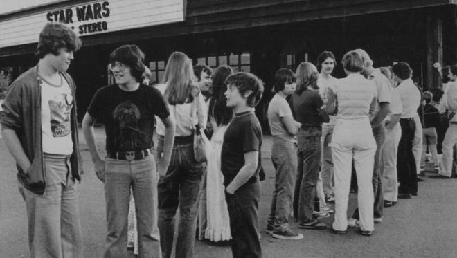 """Patrons line up for the last Indianapolis showing of """"Star Wars,"""" June 15, 1978, at the Eastwood Theater. The movie had an 11-month run."""