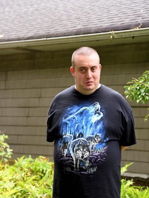 Jake Petrillo, 33, outside of the group home where he lives on Friday, August 7, 2020, in Demarest.