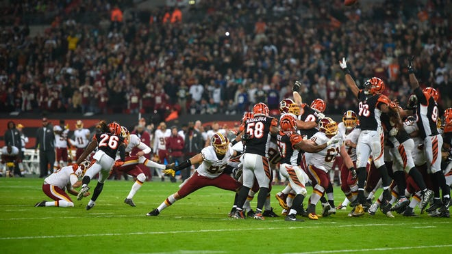 Oct 30, 2016; London, United Kingdom;  Washington Redskins placekicker Dustin Hopkins (3) misses a field goal in overtime during the game between the Cincinnati Bengals and the Redskins at Wembley Stadium. Mandatory Credit: Steve Flynn-USA TODAY Sports
