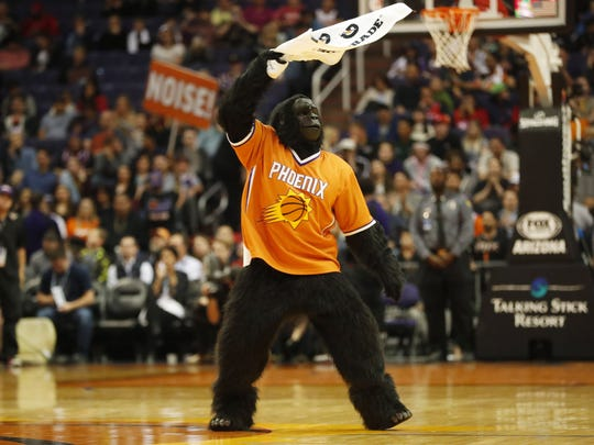 Phoenix Suns Gorilla fires up the crowd against the