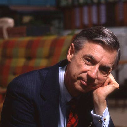 "Fred Rogers, shown on the set of his show ""Mr. Rogers'"