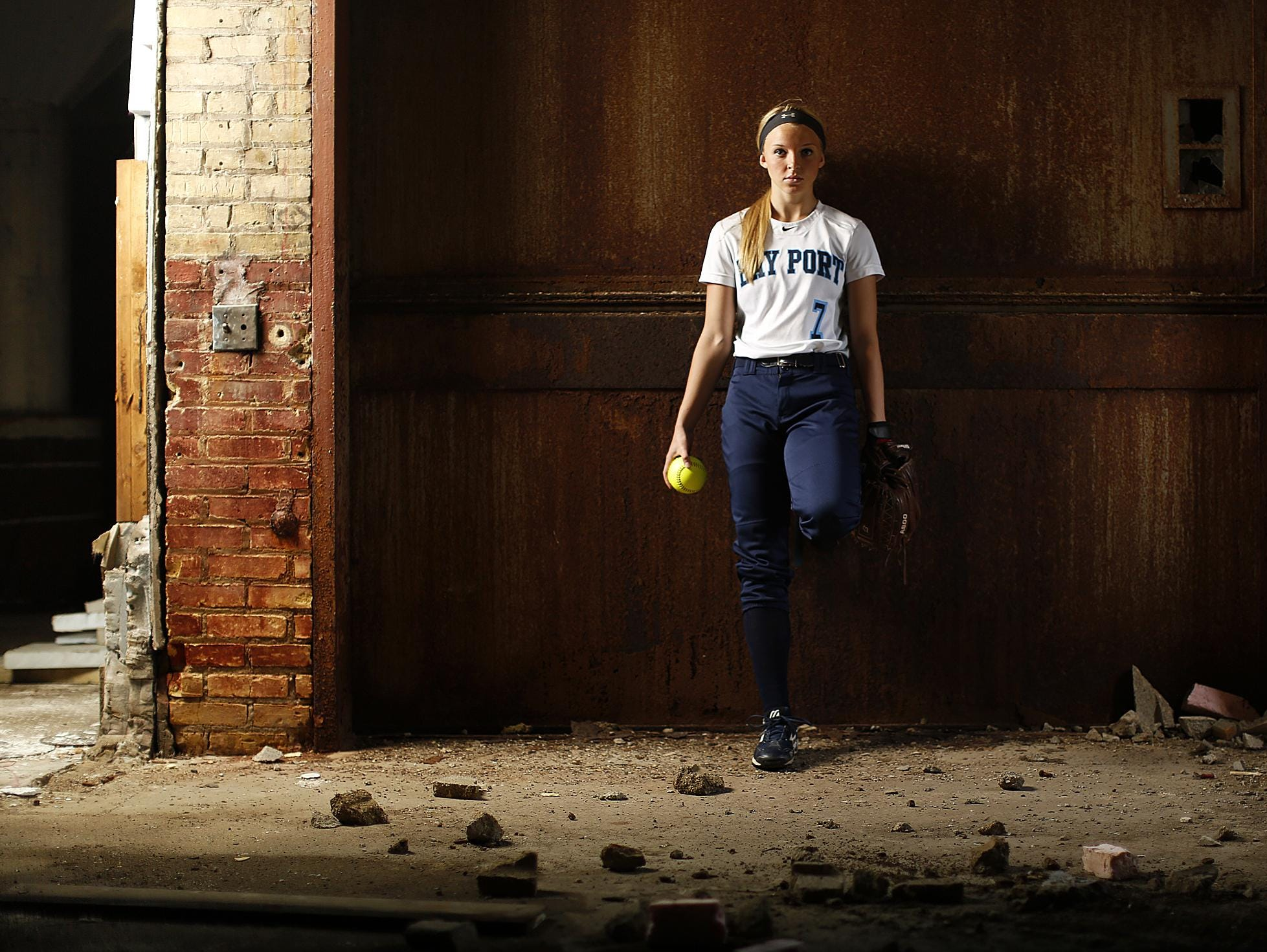 Bay Port's Bailey Smaney is Press-Gazette Media's softball player of the year. Smaney is shown inside the former Larsen Canning Company in the Broadway District.