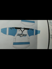 The sweater for the new Greece Storm high school hockey