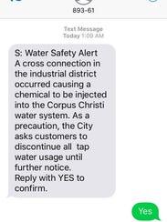 The city of Corpus Christi sent out Reverse Alert text