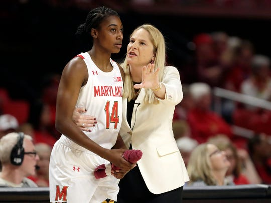 FILE - In this Monday, Jan. 6, 2020, file photo, Maryland head coach Brenda Frese, right, talks with guard Diamond Miller during the second half of an NCAA college basketball game against Ohio State in College Park, Md. Riding a five-game winning streak and closing in on its customary perch atop the Big Ten standings, the 17th-ranked Maryland women's basketball team turned around its season with a minimum of assistance from fiery coach Brenda Frese. (AP Photo/Julio Cortez, File)