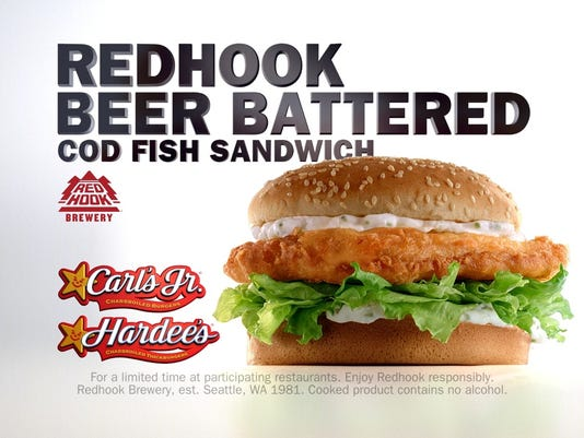 Beer battered fish at carl 39 s hardee 39 s for lent for Carl s jr fish sandwich
